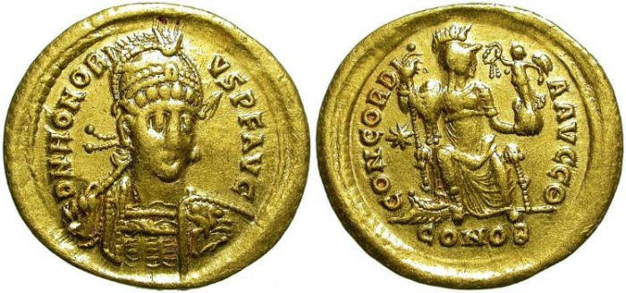 Ancient Coins - HONORIUS. GOLD SOLIDUS. CONSTANTINOPLE MINT. ATTRACTIVE