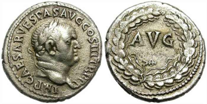 Ancient Coins - VESPASIAN.  SILVER DENARIUS. EPHESOS.  RARE AND GOOD QUALITY.