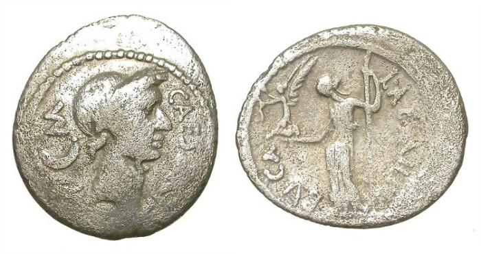 Ancient Coins - JULIUS  CAESAR,  PORTRAIT  DENARIUS.