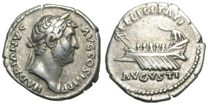 Ancient Coins - HADRIAN. DENAR. BEAUTIFUL REVERSE WITH A SAILING GALLEY