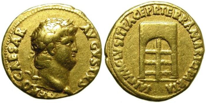 Ancient Coins - NERO. RARE GOLD AUREUS. JANUS TEMPLE DOOR