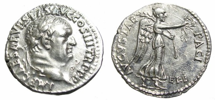 Ancient Coins - VESPASIAN  DENARIUS.  EPHESUS.  SCARCE.
