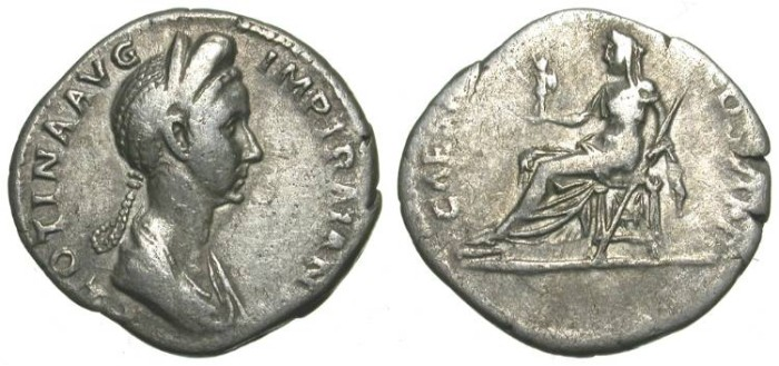 Ancient Coins - PLOTINA. DENAR. VF for ISSUE. VERY RARE. ATTRACTIVE PIECE
