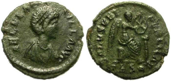 Ancient Coins - AELIA  FLACILLA. 1/2 CENTENIONAL. SISCIA. 379 - 386 A.D. NICE  COIN. GOOD CONDITION.