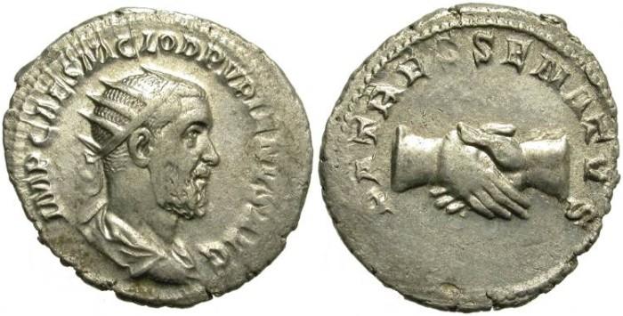 Ancient Coins - PUPIENUS. SILVER ANTONINIANUS. INTERESTING ISSUE