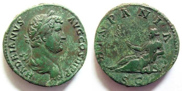 Ancient Coins - AS HADRIAN. R/ HISPANIA.