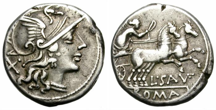Ancient Coins - SAUFEIA, 152 BC. AR DENARIUS. ROME. GOOD GENERAL CONDITION AND NICE TONING.