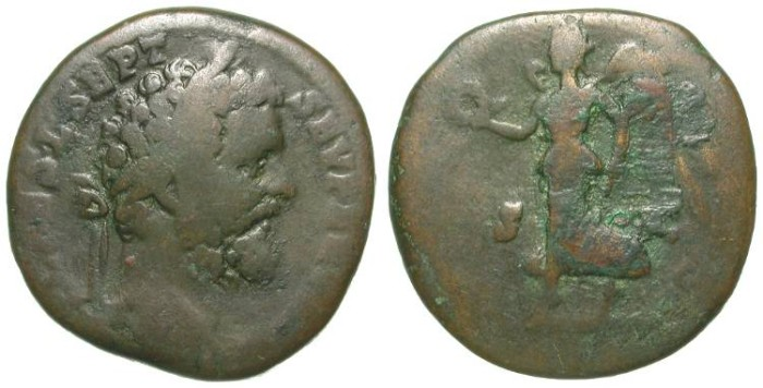 Ancient Coins - SEPTIMIUS SEVERUS. SESTERZ. F. RARE EMISSION IN BRONZE