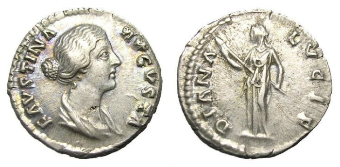 Ancient Coins - FAUSTINA  DENARIUS.  GREAT  QUALITY.