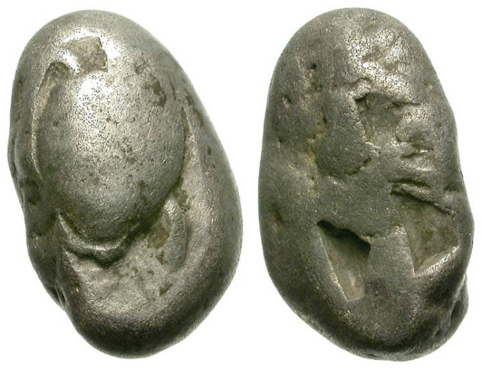 Ancient Coins - AEGINA. STATER. INTERESTING ISSUE. VERY RARE ALMOND SHAPED ARCHAIC EMISSION
