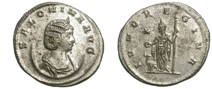 Ancient Coins - SALONINA: AE ANTONINIAN: ANTIOCH: MOSTLY SILVERED