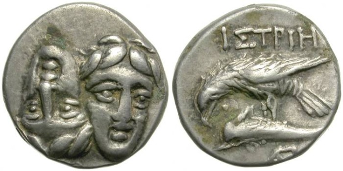 Ancient Coins - ISTROS, MOESIA. SILVER DRACHM.  ATTRACTIVE  PIECE.