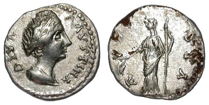 Ancient Coins - FAUSTINA I BARBARIC IMITATIVE DENAR. NICE VF. LUSTER !