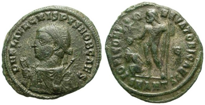 Ancient Coins - CRISPUS. FOLLIS. ANTIOCH. RARE REVERSE !