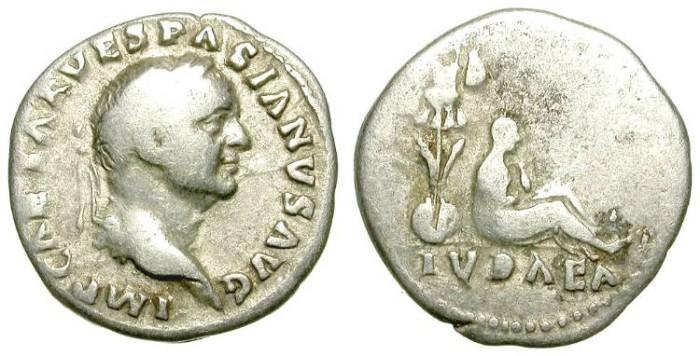 Ancient Coins - VESPASIAN. DENAR. IVDAEA. A VF. ATTRACTIVE ANYHOW