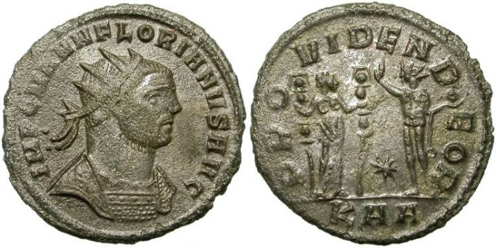 Ancient Coins - FLORIAN. AE ANTONINIANUS. SOME SILVERING REMAINING. NICE PORTRAIT.