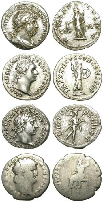 Ancient Coins - LOT OF 4 ATTRACTIVE ROMAN SILVER DENARS. SO INTERESTING