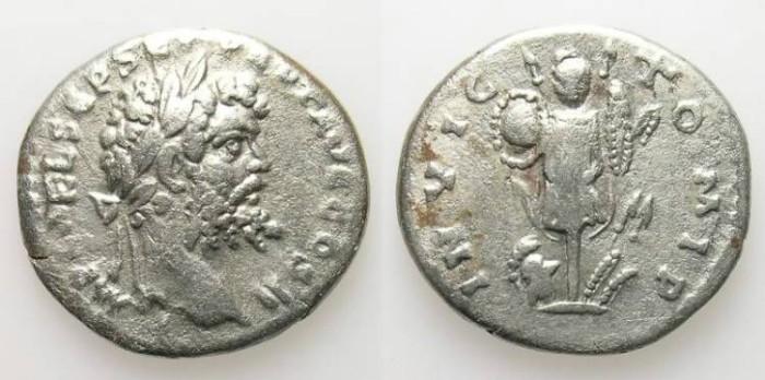 Ancient Coins - SEPTIMIUS SEVERUS. DENAR. VF. EMESA MINT. VERY RARE REVERSE, WITH AN ERROR INDEED !