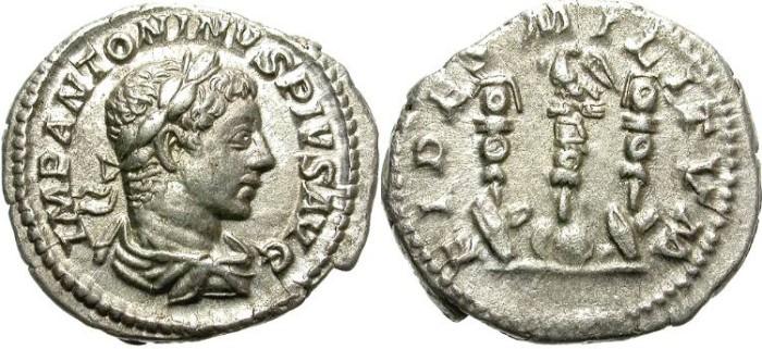 Ancient Coins - ELAGABALUS.  SILVER DENARIUS.  INTERESTING  LEGIONARY REVERSE.