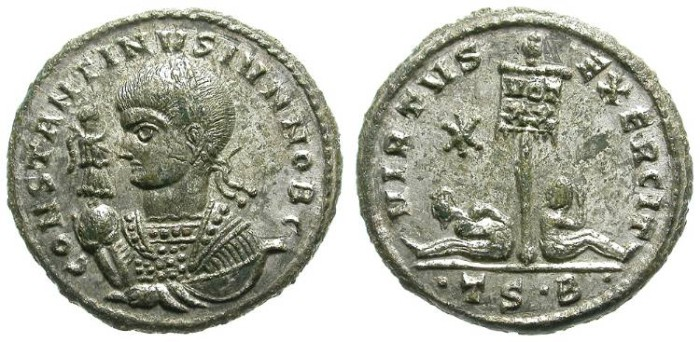 Ancient Coins - CONSTANTINUS II. AE FOLLIS. ALMOST FULL SILVERING. BEAUTIFUL!