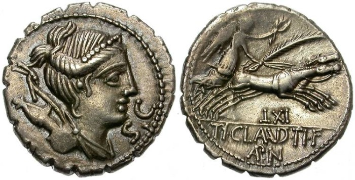 Ancient Coins - ROMA REPUBLIC. CLAUDIA 5. 79 B.C.  SILVER DENARIUS. ATTRACTIVE BUST OF DIANA.