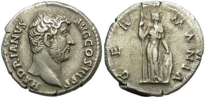 Ancient Coins - HADRIAN. SILVER DENARIUS. GERMANIA REVERSE. SCARCE AND ATTRACTIVE