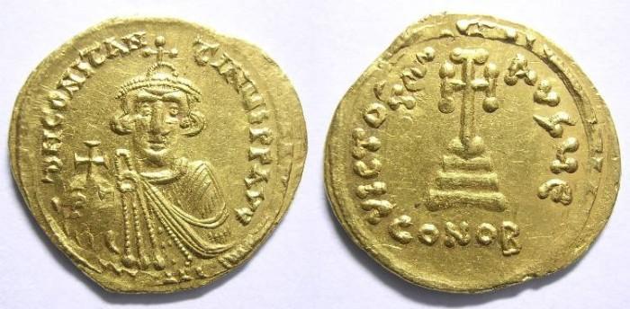 Ancient Coins - CONSTANS II. SOLIDI. CONSTANTINOPLE. NICE VF. ELEGANT ISSUE !