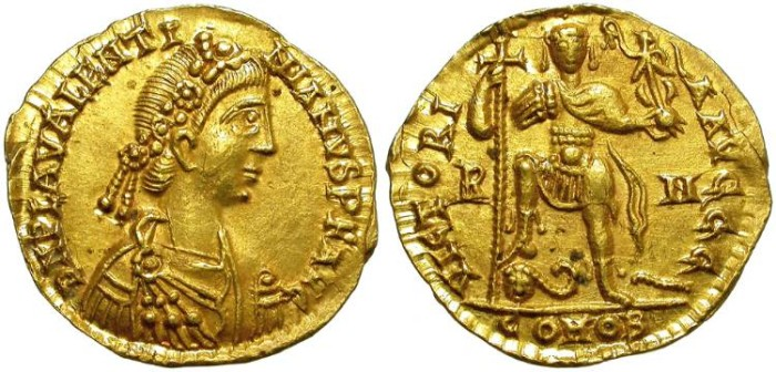 Ancient Coins - VALENTINIAN III. GOLD SOLIDUS. ROME MINT. RARE AND NICE !