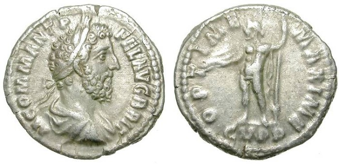 Ancient Coins - COMMODUS. SILVER DENAR. DIFFICULT TYPE. DRAPPED BUST & RARE REVERSE