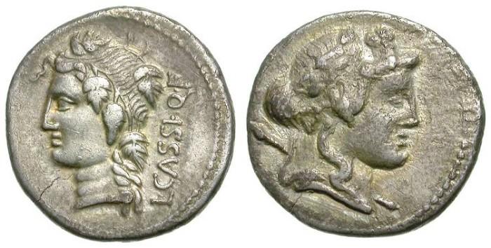 Ancient Coins - ROMAN REPUBLIC. DENAR. CASSIA FAMILY.  NICE PORTRAIT