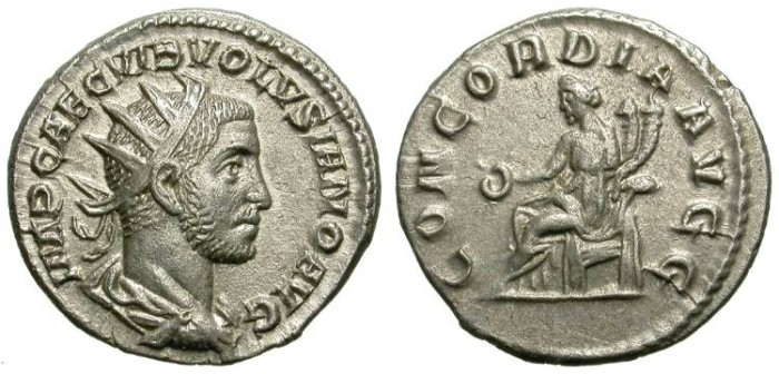 Ancient Coins - VOLUSIAN. NICE ANTONINIAN. ROME. EF. VERY ATTRACTIVE BEARDED PORTRAIT