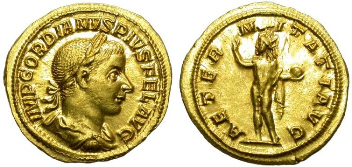 Ancient Coins - GORDIAN III. GOLD AUREUS. BEAUTIFUL ISSUE. ALMOST UNCIRCULATED
