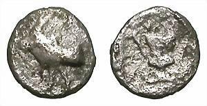 Ancient Coins - MENDE. HEMIOBOL. ANOTHER FASCINATING MINIATURE RARITY !