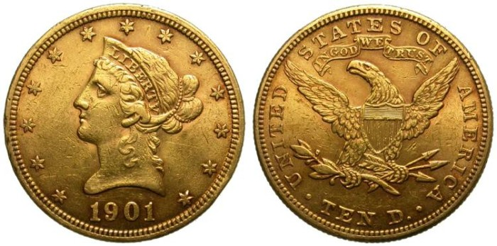 Ancient Coins - 10 DOLLARS GOLD EAGLE. 1901. BEAUTIFUL RED TONING