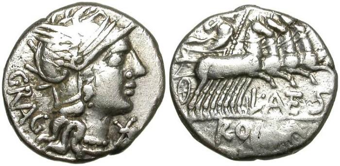 Ancient Coins - ROMAN REPUBLIC. SILVER DENARIUS. ANTESTIA 9