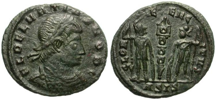 Ancient Coins - DELMATIUS, 335-227 AD. AE 3. SISCIA MINT. GOOD CONDITION, NICE PATINA.