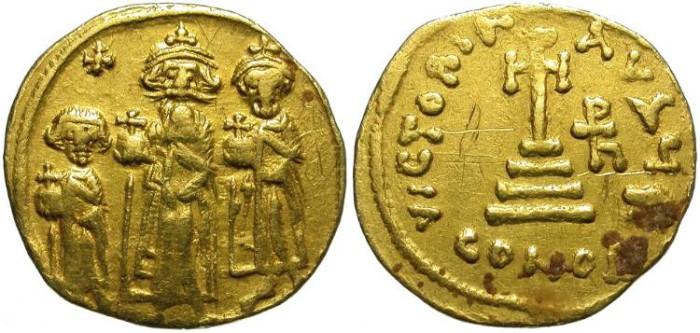 Ancient Coins - HERACLIUS, HERACLIUS CONSTANTINUS AND HERACLONAS. GOLD SOLIDUS.
