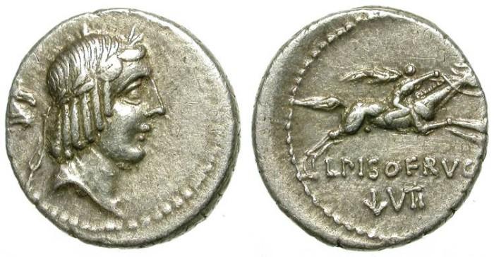 Ancient Coins - ROMAN REPUBLIC. SILVER DENARIUS. CALPURNIA. HORSE PROTOME