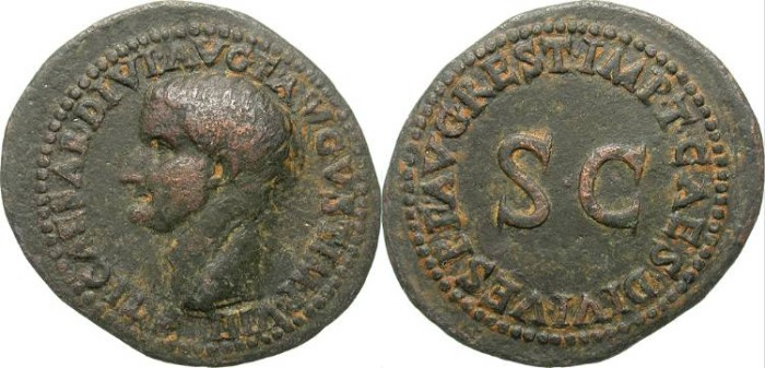 Ancient Coins - TIBERIUS. AS. RESTITUTION BY TITUS. RARE AND AFFORDABLE