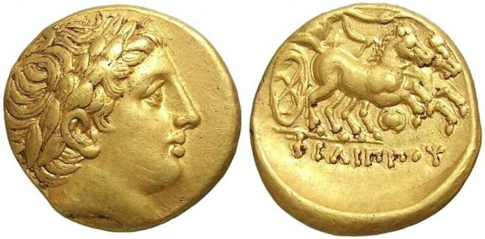 Ancient Coins - AV  STATER  PHILIP  II. GOOD PORTRAIT.