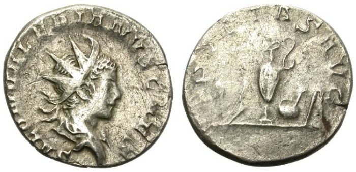 Ancient Coins - SALONINUS. SILVER ANTONINIANUS. SCARCE CAESAR. ATTRACTIVE PORTRAIT