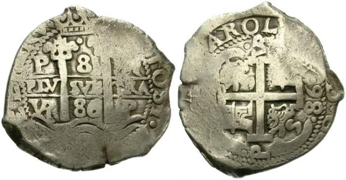 World Coins - CARLOS II. 8 REALES. 1686 POTOSI. LARGE MODULE.