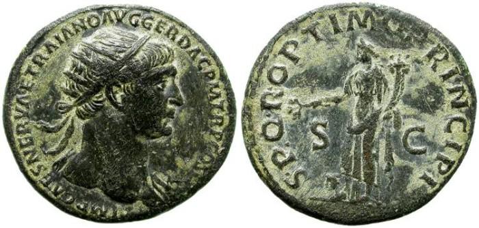 Ancient Coins - TRAJAN. 98-117 A.D. DUPONDIUS. GOOD QUALITY.