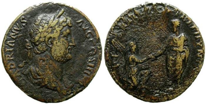 Ancient Coins - HADRIANUS. SESTERTIUS RESTITUTORI BITHYNIAE. SCARCE.
