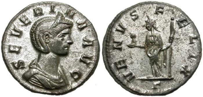 Ancient Coins - SEVERINA. RARE BILLON DENAR. AMAZING CONDITION !