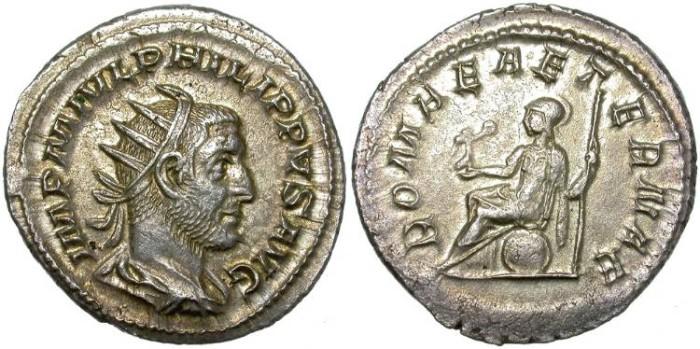 Ancient Coins - PHILIP I. SILVER ANTONINIANUS. ROMANE AETERNAE.