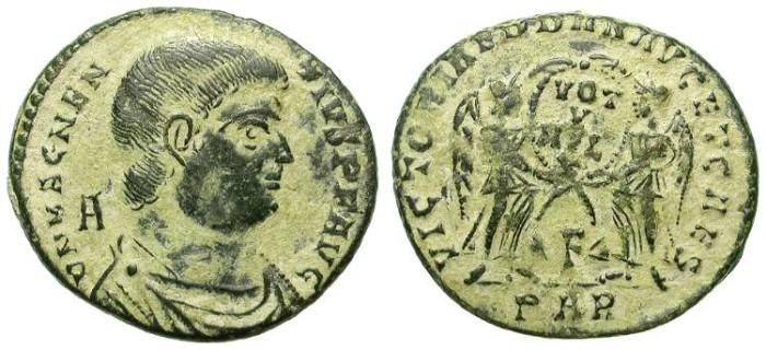Ancient Coins - MAGNENTIUS. MAIORINA. NICE EARTHEN PATINA. BEAUTIFUL STRIKE