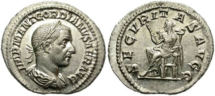 Ancient Coins - GORDIAN I AFRICANUS. SILVER DENARIUS. GREAT CONDITION. NICE PORTRAIT. WONDERFUL COIN !