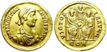 Ancient Coins - VALENTINIAN II. GOLD SOLIDUS. MEDIOLANUM. RARE. EX-MOUNTED BUT NICE