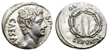 Ancient Coins - AUGUSTUS. SILVER DENARIUS. COLONIA PATRICIA (?). GREAT SILVER CONDITION. SUPERB PORTRAITURE. CURVED LEGEND VAR.